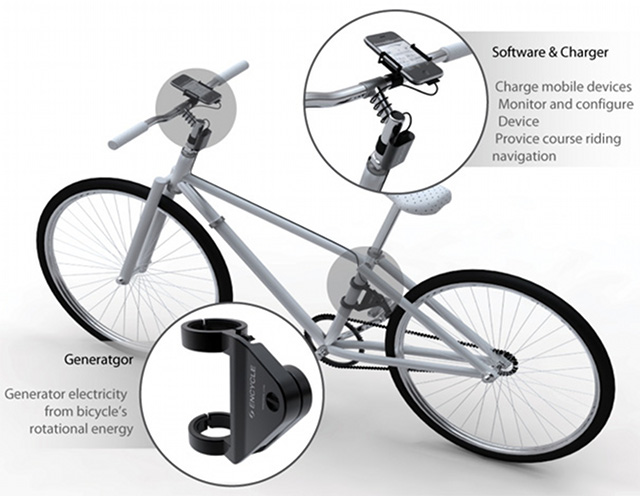 Encycle concept juices your phone as you cycle