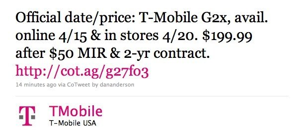 tmobile g2x phone. T-Mobile G2x officially priced