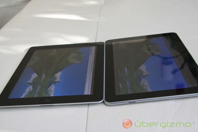 iPad 2 Galaxy Tab 10.1 comparaison angle de vision