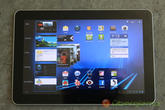Galaxy Tab 10.1 fonctionnalité Recent apps