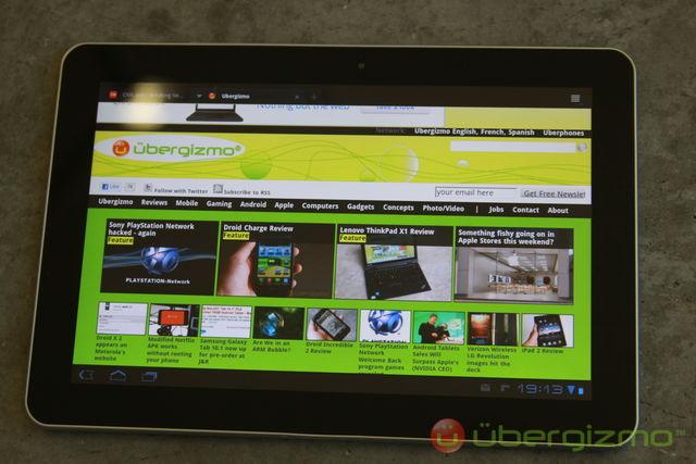 Navigateur de la Galaxy Tab 10.1