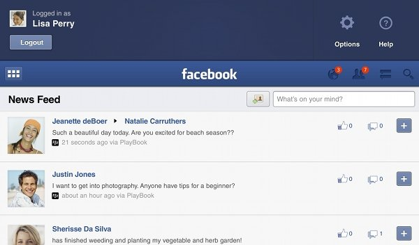Facebook for BlackBerry PlayBook updated to 1 0 5 | Ubergizmo