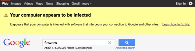 Google malware detected