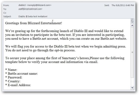 Diablo 3 beta invitation email phishing scam ubergizmo yes the closed beta for diablo 3 has started and its no secret that everybody is interested in getting an invite well some scammers have decided to use stopboris Choice Image