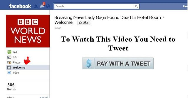 Lady Gaga found dead in hotel room is a scam