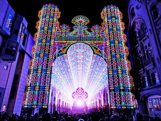 Luminarie Cagna cathedral lighted up by 55,000 colored LEDs