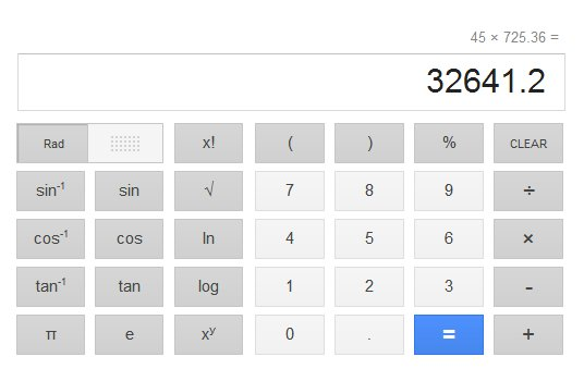 Google Search now has a built in calculator