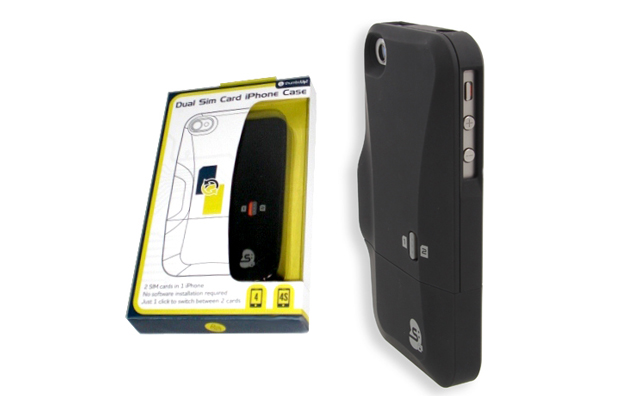 iphone 4s dual sim card case by thumbsup ubergizmo. Black Bedroom Furniture Sets. Home Design Ideas