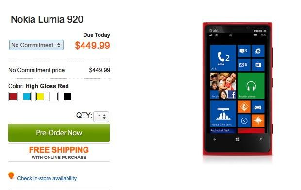AT&T is offering the Nokia Lumia 920 off contract for $449.99