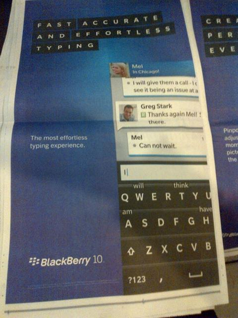 Blackberry 10 ads appear in the New York Times