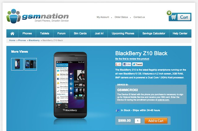 BlackBerry Z10 Available In The U.S. For $999 Contract Free