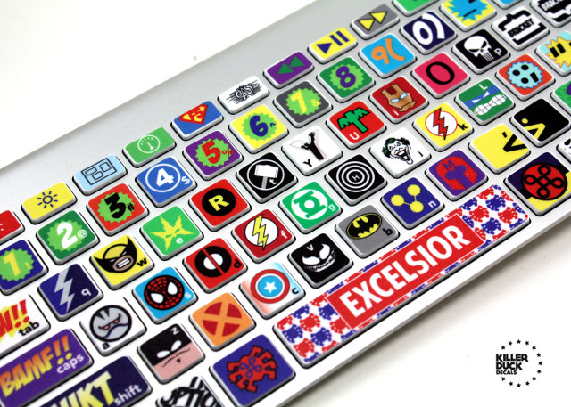 Comic book keyboard stickers brings your favorites to your fingertips