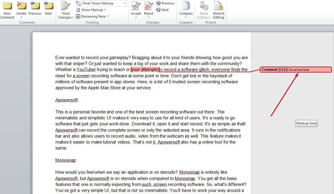 word restrict editing highlight