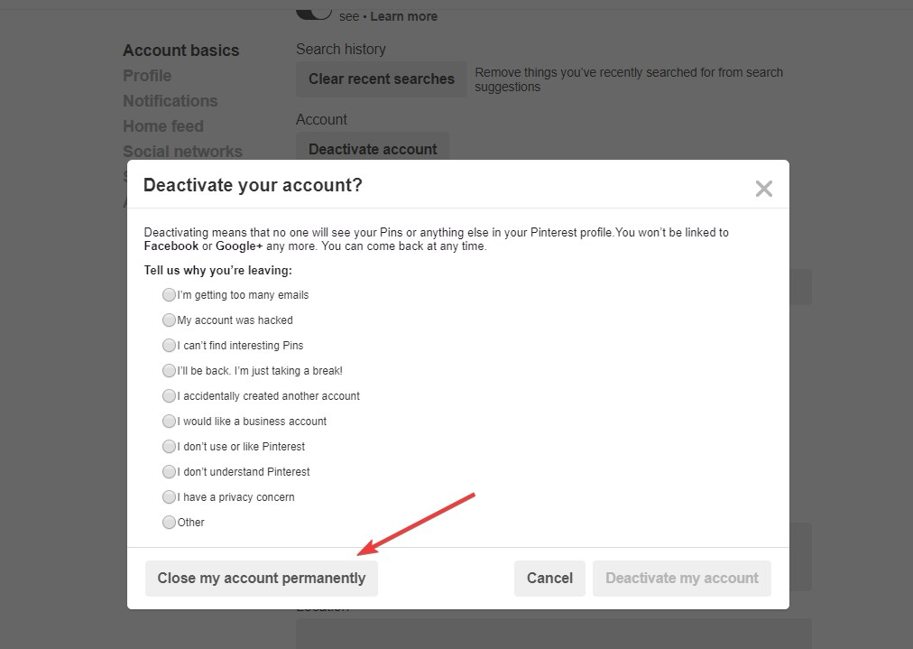 How to delete your pinterest account ubergizmo ccuart Gallery